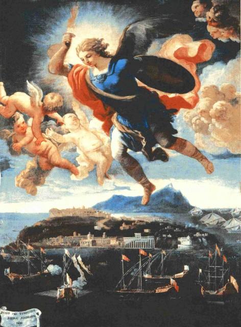 Ærkeenglen jager saracenske pirater væk, her fra øen Procida. Af Nicola Russo, 1690. Wikimedia