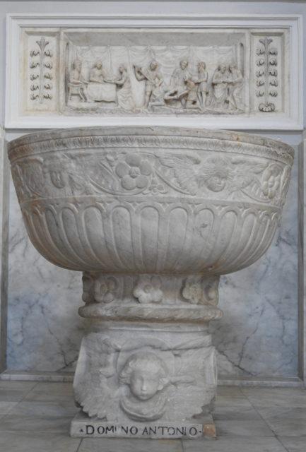 Døbefond af Domenico og Antonino Gagini i Chiesa Madre, Duomo i Sciacca. Foto: KirstenSoele