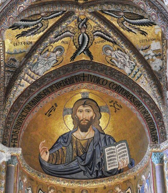 Pantokrator udført i byzantinsk mosaik i Domkirken i Cefalù. Foto: KirstenSoele
