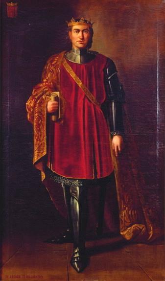 Giacomo II af Aragonien. Konge af Sicilien fra 1291 - 1327. Maleri af Manuel Aguirre y Monsable 1851 - 54, Wikimedia
