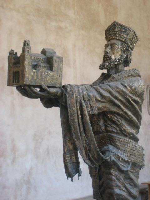 Normannerkongen Guglielmo II di Sicilia, Wilhelm den 2. af Sicilien med domkirken i Monreale. Foto: KirstenSoele