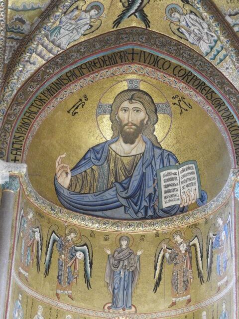 Den byzantinske mosaik af Pantokrator i Cefalù Domkirke. Foto: KirstenSoele